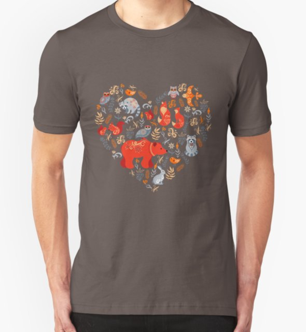 RedBubble: Fairy-tale forest. Fox, bear, raccoon, owls, rabbits, flowers and herbs on a blue background.