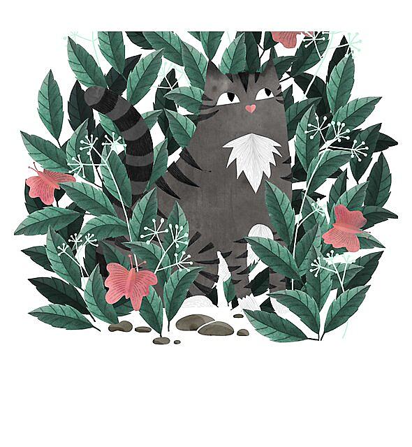 RedBubble: Butterfly Garden (Tabby Cat Version)