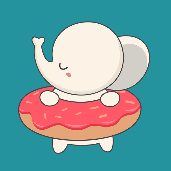 NeatoShop: Elephant With Donut Is Kawaii Cute