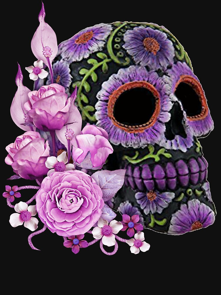 RedBubble: Pink Floral Black Sugar Skull Day Of The Dead