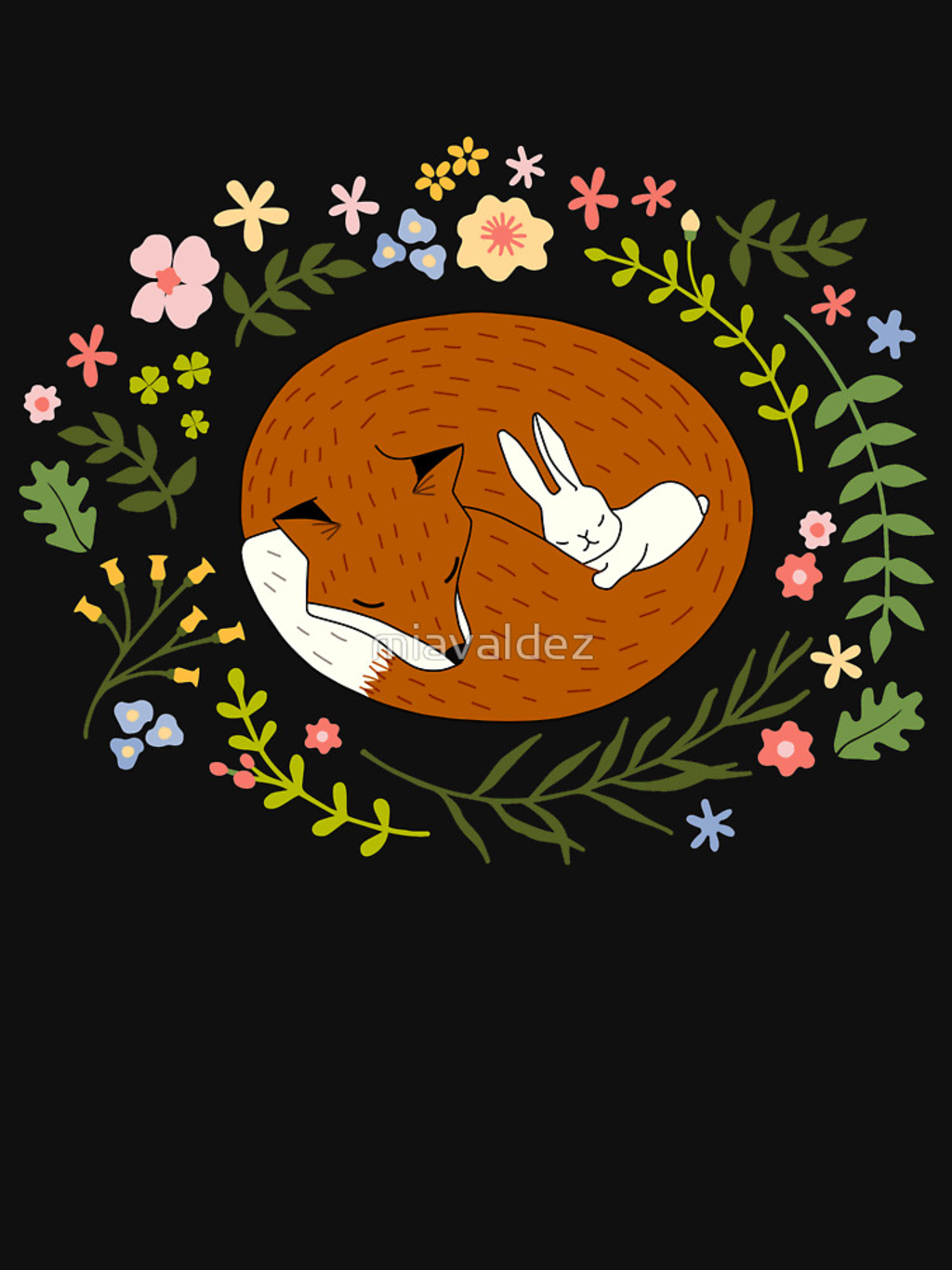 RedBubble: Friendship Fox-Rabbit_BgBlack