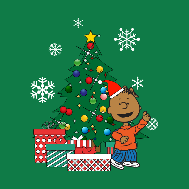 TeePublic: Franklin Peanuts Around The Christmas Tree