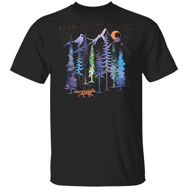 Pop-Up Tee: Fox Trot Rainbow Forest